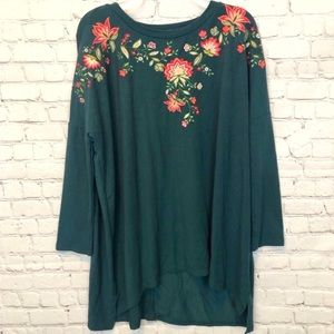 NWT umgee floral green tunic blouse/ short dress